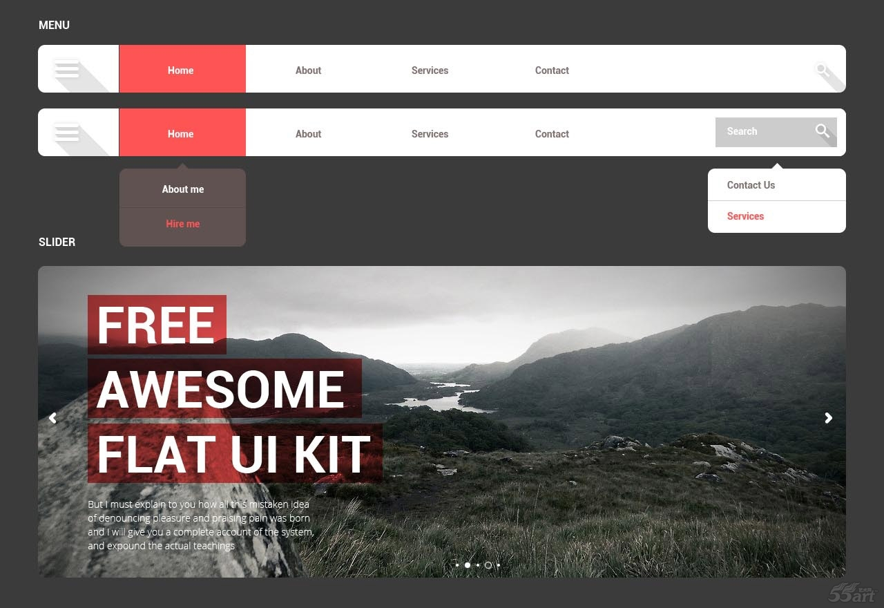 free awesome flat ui kit with psd