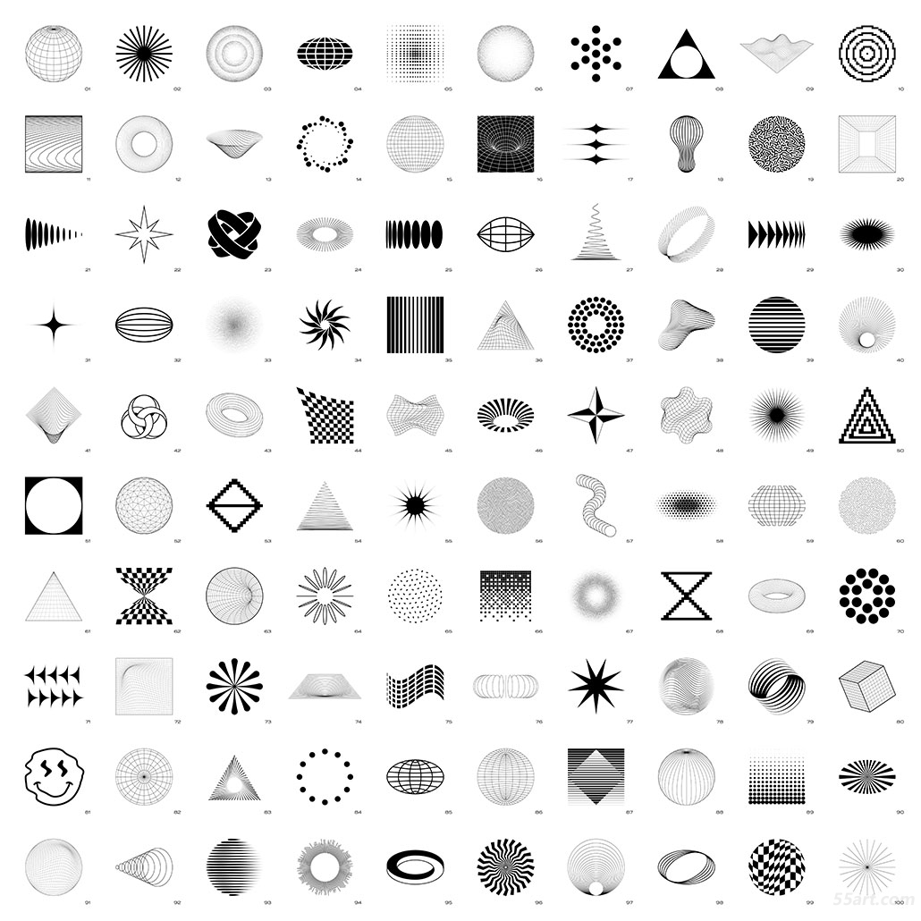 100 Abstract Shapes (black on white) • contact sheet 拷贝.jpg