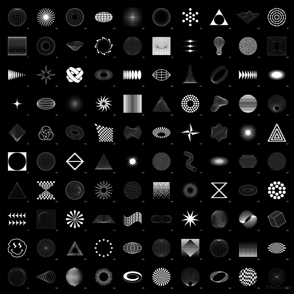 100 Abstract Shapes (white on black) • contact sheet 拷贝.jpg