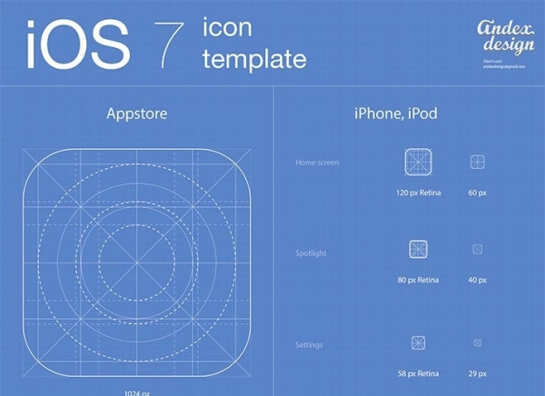 iOS 7 app icons template (PSD/AI)