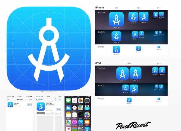 iOS 8 App Icon Template [4.0] 55art首发